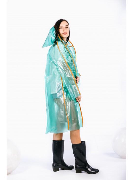 Полиэтиленовые полупрозрачные дождевики на липучках с кантом